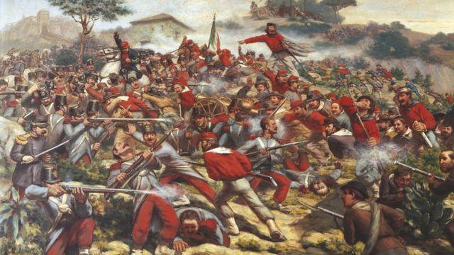 Pintura a óleo romântica retratando soldados na batalha de Calatafimi