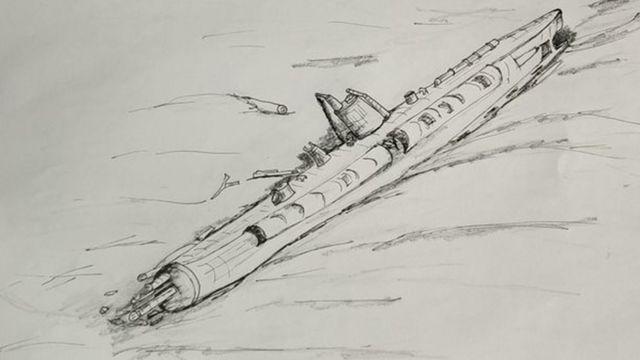 Подводная лодка неплохо сохранилась: ни рисунке видна неповрежденная рубка