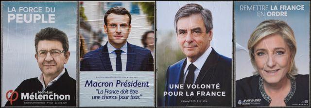 Carteles de los candidatos punteros en Francia
