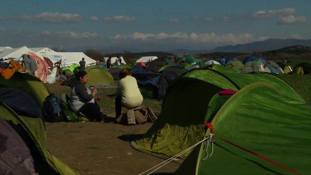 Migrant camp on the Greece/Macedonia border.