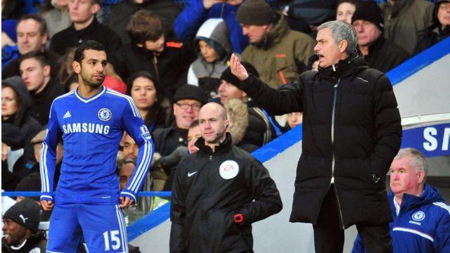 Salah and Mourinho pitchside