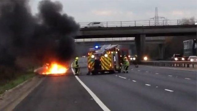 Car fire on the M27