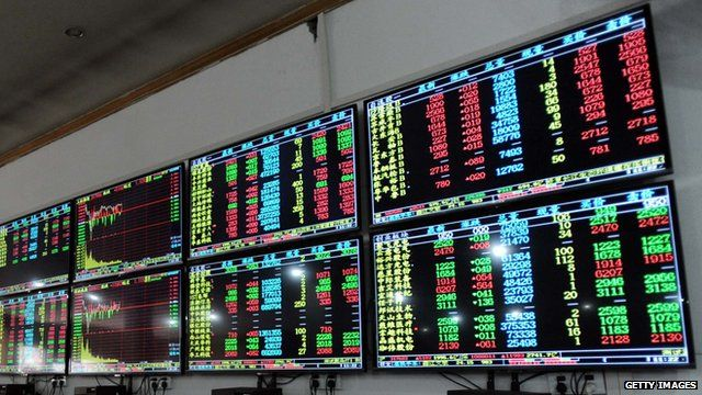 Screens showing Chinese stock market movements
