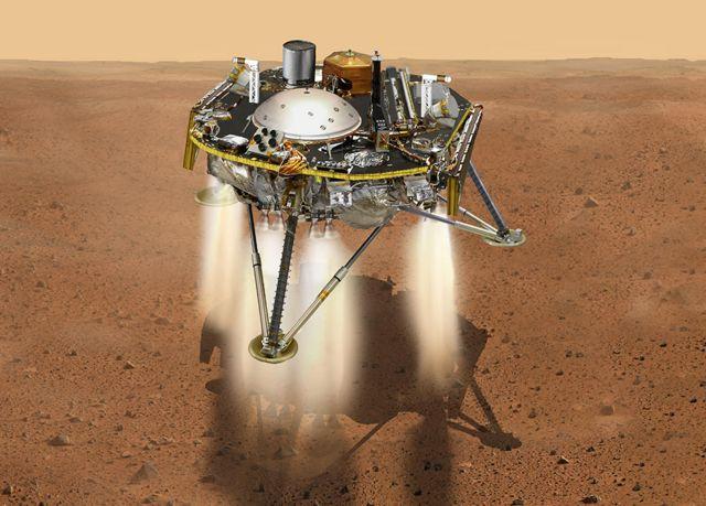 Ilustração mostra a InSight bem perto da superfície de Marte