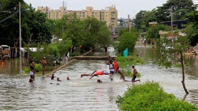 Inundaciones causadas por el huracán Iota, en Cartagena, Colombia, el 15 de noviembre de 2020.