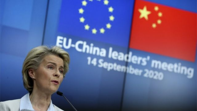 "European Commission President Ursula von der Leyen speaks during a news conference after a virtual summit with China""s President Xi Jinping, in Brussels, Belgium, 14 September 2020"