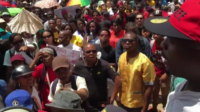 Black students protesting in South Africa