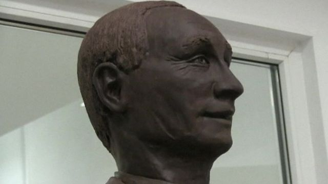 A life-size chocolate sculpture of Russian President Vladimir Putin