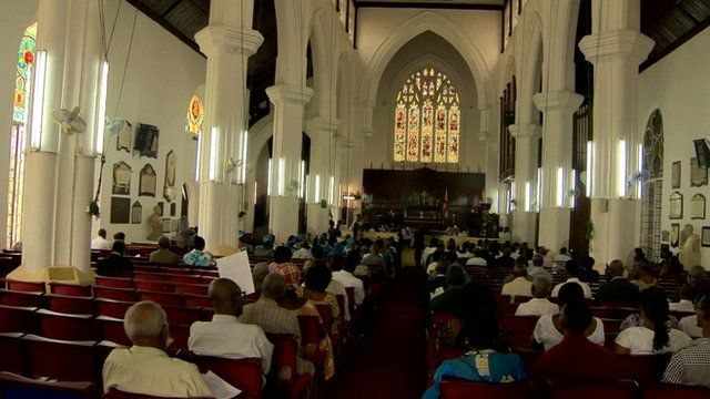 People worshiping in Cathedral