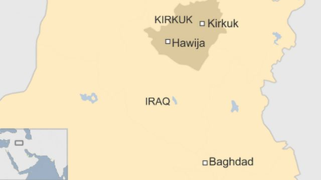 A map showing Hawija in northern Iraq