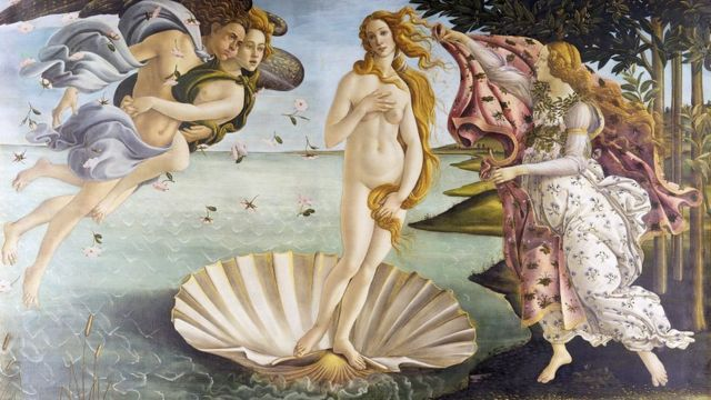 The Birth of Venus by Sandro Botticelli (Italian, circa 1445 - 1510); tempera of canvas, circa 1486, from the Uffizi Gallery, Florence.