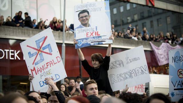 Protesto contra a extrema-direita na Suécia