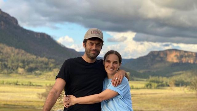 Natalie Portman and her husband, film director Benjamin Millbead, in Blue Mountain, west of Sydney