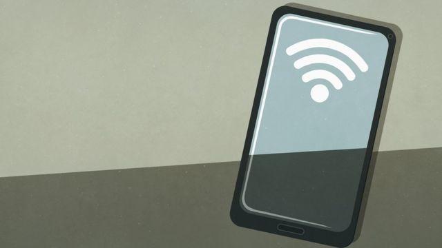 Símbolo do wi-fi em celular