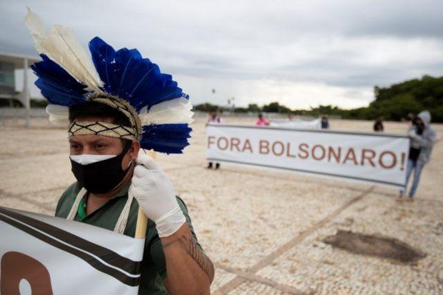 Protesto indígena contra Bolsonaro