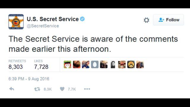 Tuit del Servicio Secreto de EE.UU.