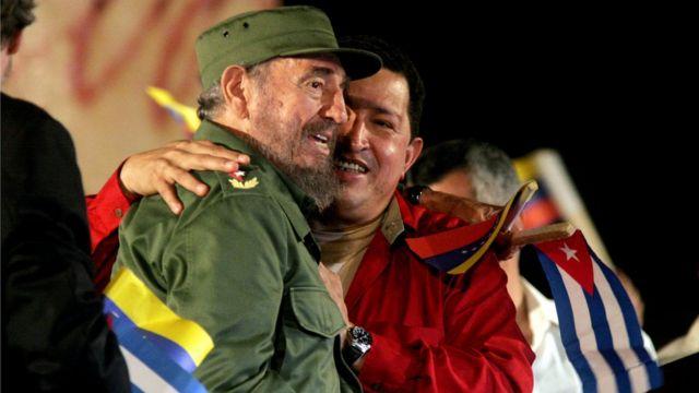 Fidel y Chávez.