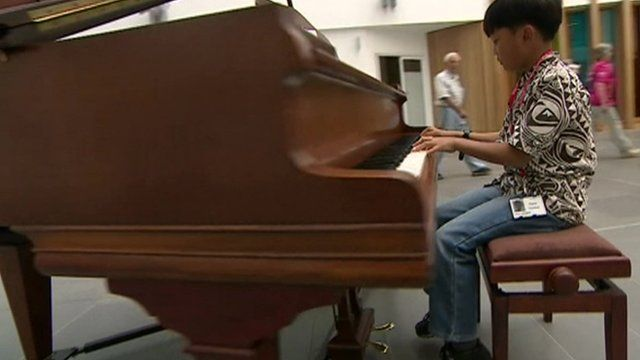 Ten year old Kino who regularly the piano at Southmead Hospital Bristol to help patients, staff and visitors relax