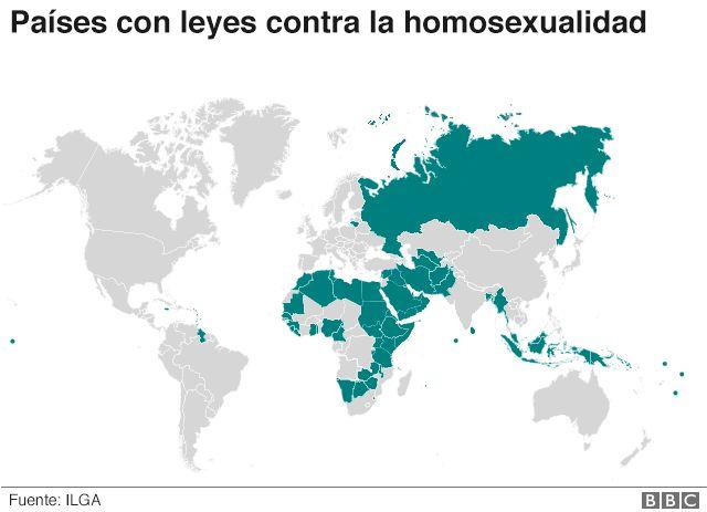 Mapa de los países con leyes contra la homosexualidad
