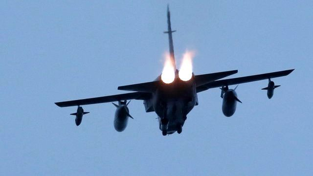 A Tornado jet takes off from RAF Lossiemouth in Scotland