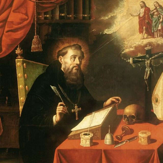 Santo Agostinho, em pintura de Antonio Rodríguez (1636 - 1691)
