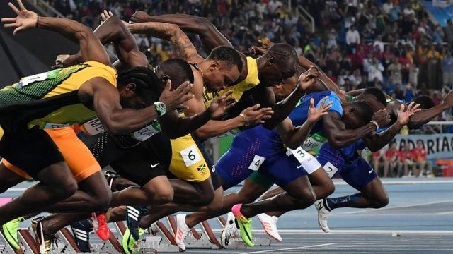 Saída da final dos 100 metros rados nos Jogos do Rio