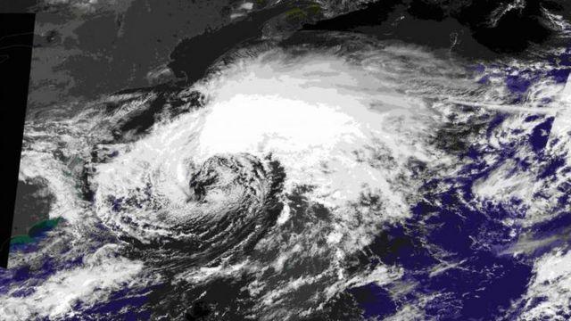 Imagen satelital del paso de Hermine.