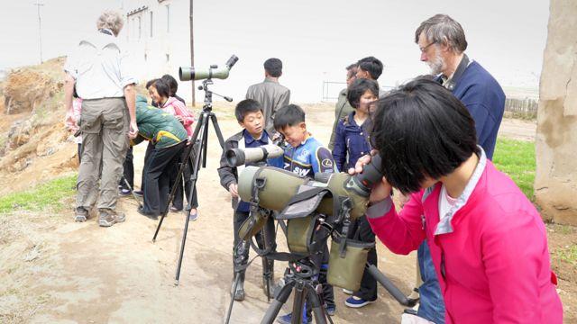 Niños norcoreanos observan las aves a través de telescopios.