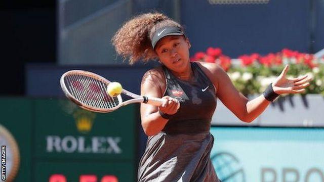 Naomi Osaka playing at the Madrid Open