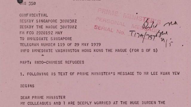 Điện thư của bà Thatcher gửi Thủ tướng Singapore Lý Quang Diệu