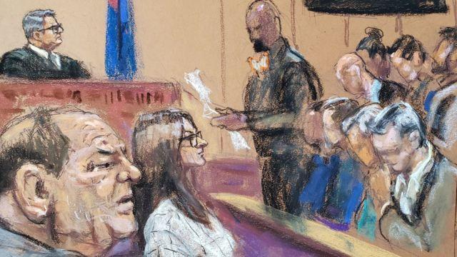 Вайнштейн во время суда