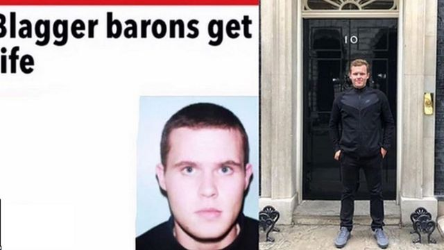 Two pictures of John McAvoy - one a mugshot after his arrest in 2005, the next standing outside 10 Downing Street