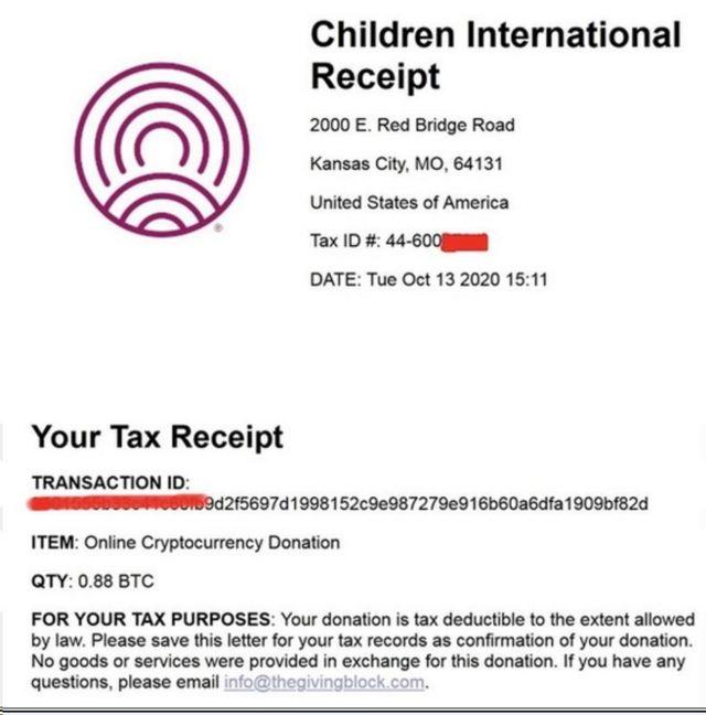 黑客在暗網上張貼比特幣捐款收據