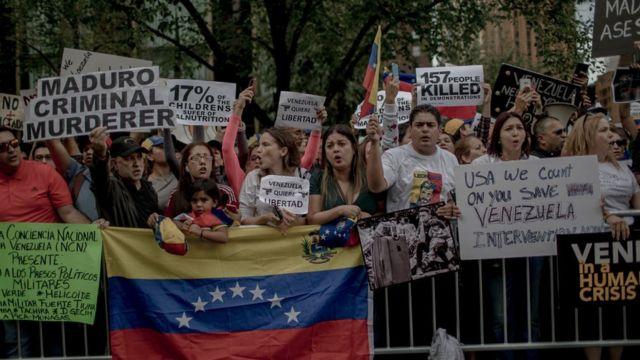 Manifestación de venezolanos en Estados Unidos contra Maduro.