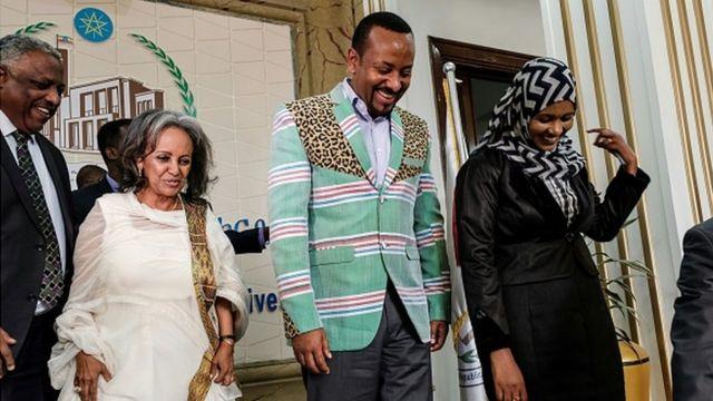 Aworan Abiy Ahmed ati Aarẹ obinrin Ethiopia Sahle -Work Zewde
