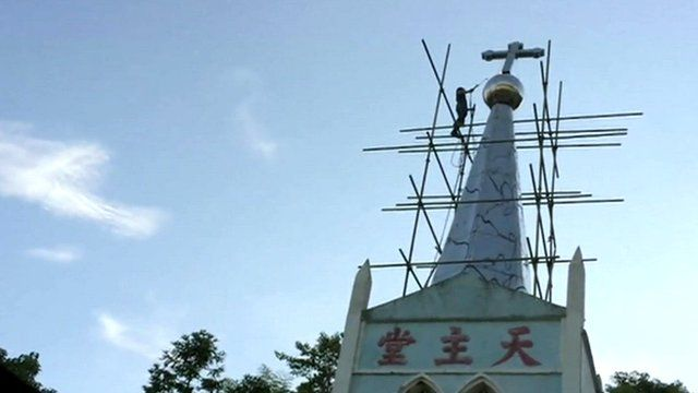 Cross is removed from a church in China
