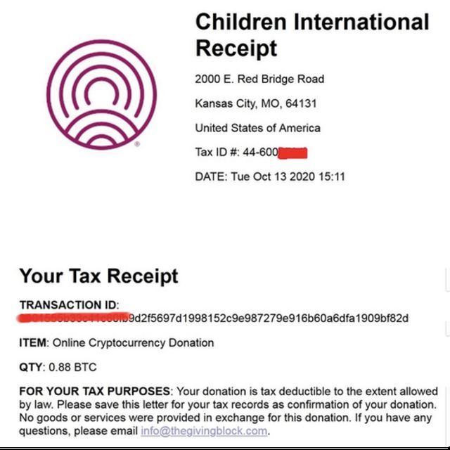 hackers tax receipt for one donation
