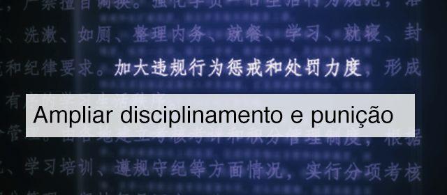 Trecho do documento que fala em ampliar disciplinamento e punição