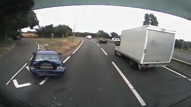 This crash was captured by a dashboard camera