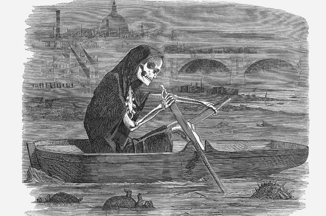 Ilustración de un esqueleto en un bote en el Támesis.