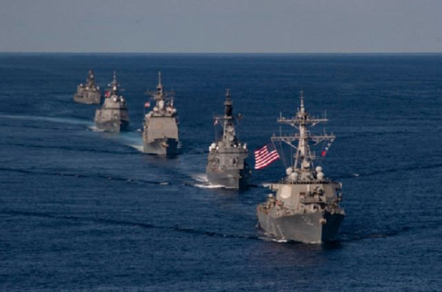 U.S. Navy and Japan Maritime Self-Defense Force ships sail in formation to kick off exercise Keen Sword, Oct. 26. (Navy/MC2 Erica Bechard)