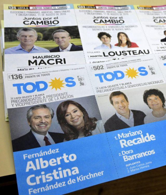 Folhetos de campanha das eleições presidenciais argentinas