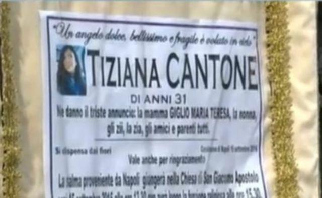 Cartaz com o anúncio do enterro de Tiziana
