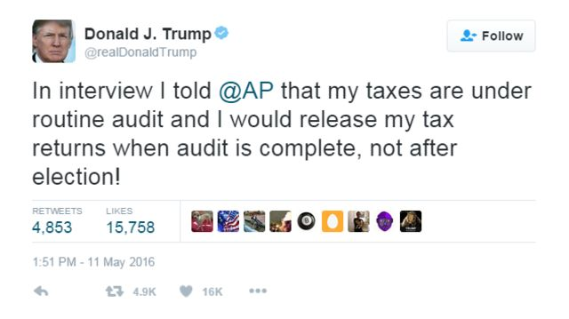 Tuit de Trump sobre impuestos