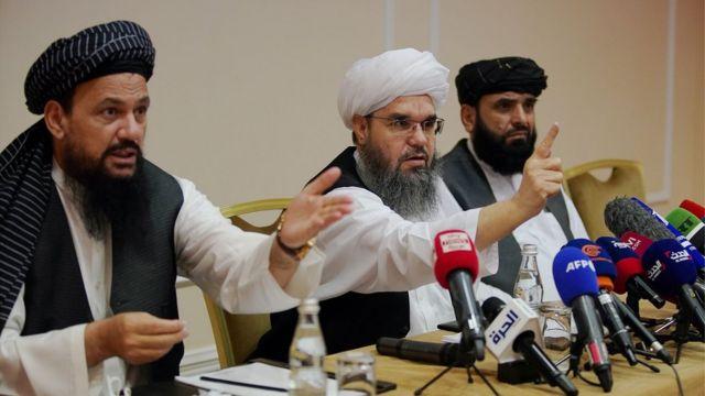 "представители ""Талибана"" (слева направо) Абдул Латиф Мансур, Шахабуддин Делавар и Сухаил Шахин в Москве 9 июля 2021 г"