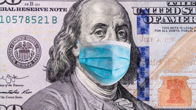 Dólar con una mascarilla