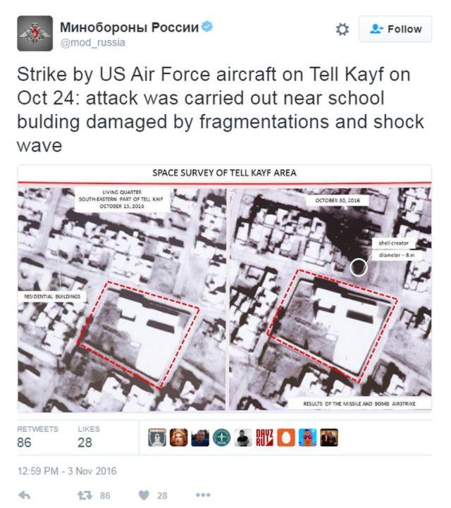تغريدة لوزارة الدفاع الروسية