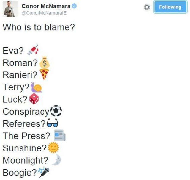BBCのスポーツ解説者は「誰のせいだろう?」とツイートした