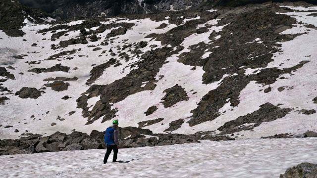 розовый цвет снега в альпах