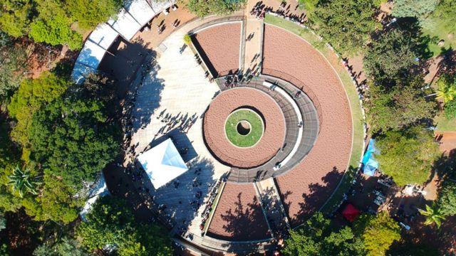 Imagem aérea de prédios da Unicamp